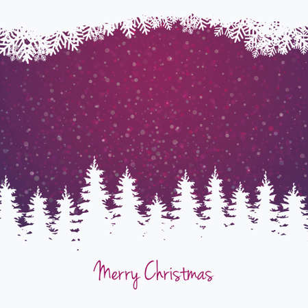 christmas tree purple: winter illustration tree stars and snow
