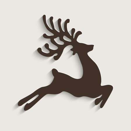 brown reindeer flying stars  Vector