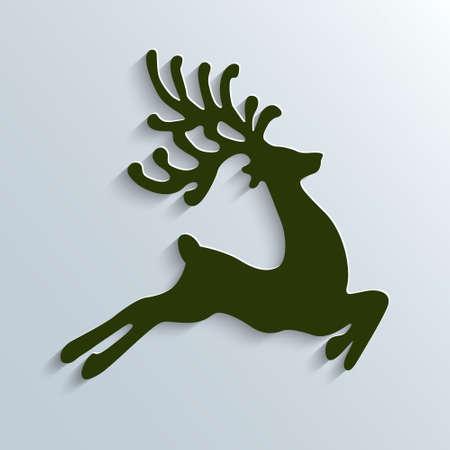 reindeer: ilustraci�n verde reno vuelan