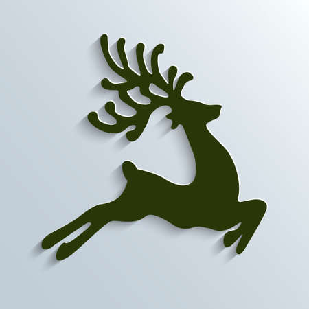 reindeer: renne verde volare illustrazione