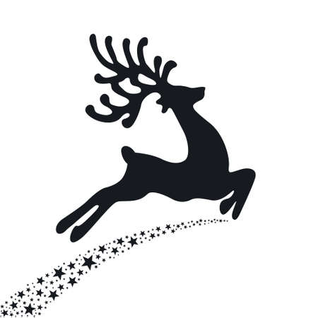 black reindeer flying stars  Vector