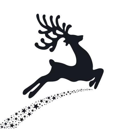 black reindeer flying stars Stok Fotoğraf - 22553589