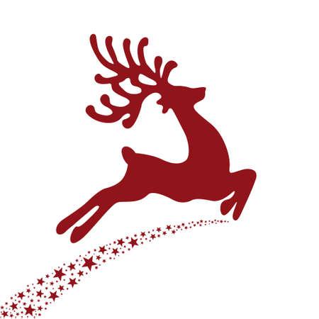 red reindeer flying stars  Illustration