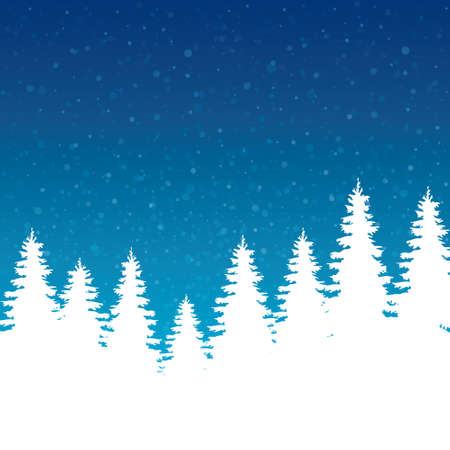pinetree: winter illustration trees and sky Illustration