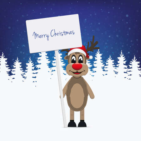 santa       hat: reindeer santa hat sign winter illustration