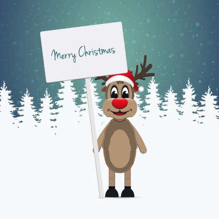 pinetree: el sombrero de santa del reno firmar ilustraci�n invierno