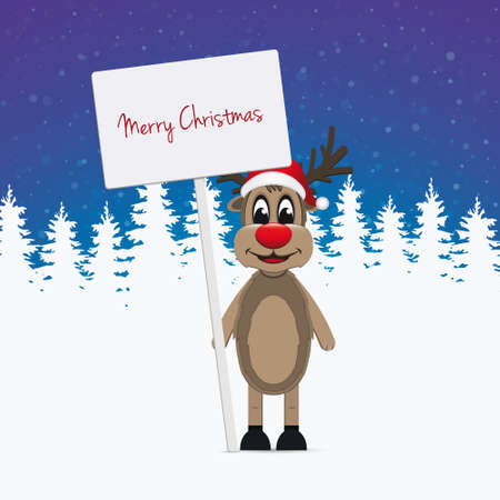 santa       hat: reindeer santa hat sign winter background  Illustration