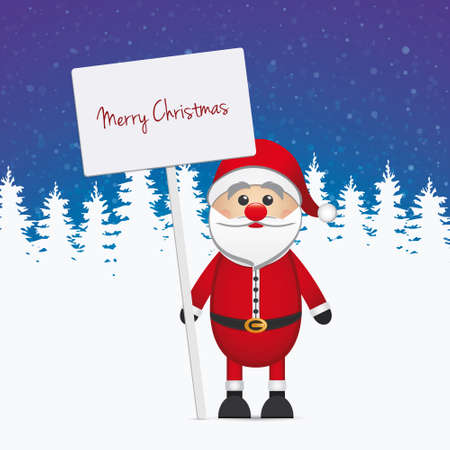 santa claus hold sign merry christmas Vector