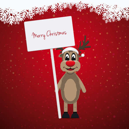 santa       hat: reindeer santa hat sign winter background