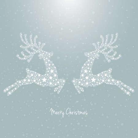 deer antlers: stars reindeer snowy background