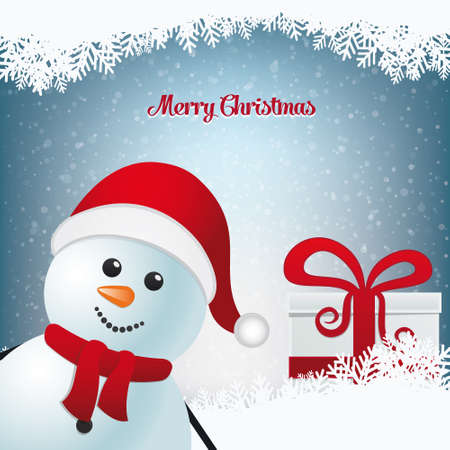snowman and gift winter snowy landscape  Vector