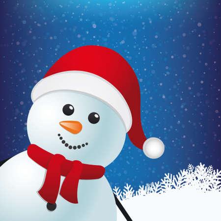 snowman winter snowy background Vector