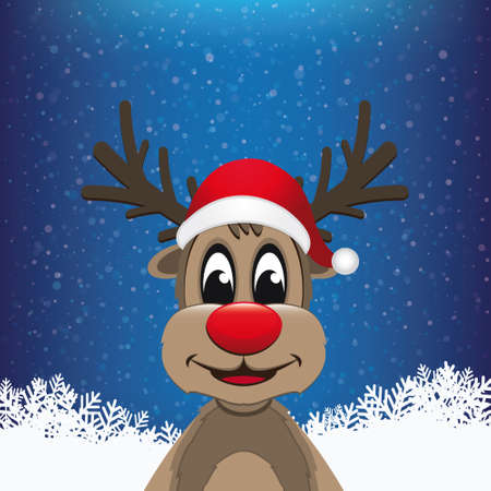 reindeer winter snowy background Vector