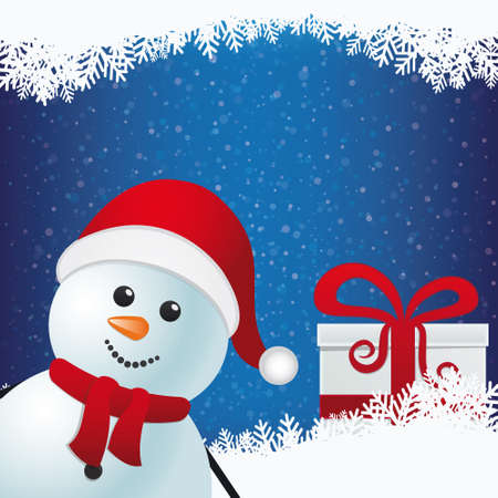 snowman and gift winter snowy background Vector