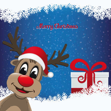 reindeer and gift winter snowy background Vector