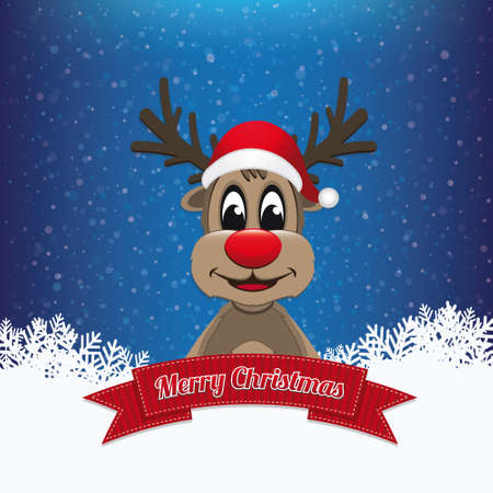 reindeer ribbon merry christmas Vector