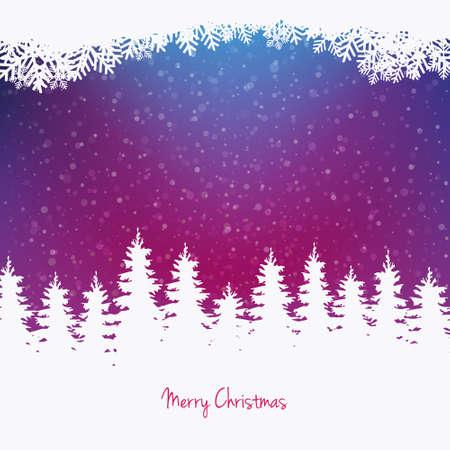 christmas tree purple: colorful winter snowy tree background