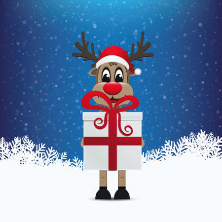 reindeer hold gift merry christmas Vector