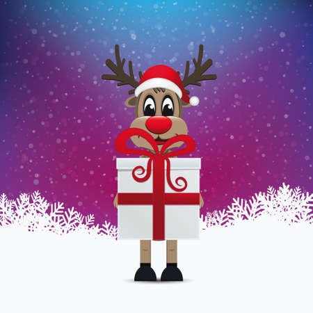reindeer hold gift winter background Vector