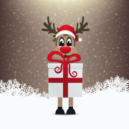 reindeer gift winter snowy background Vector