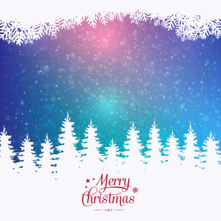 pinetree: merry christmas colorful winter snowy background