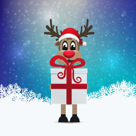 reindeer hold gift colorful winter background Vector