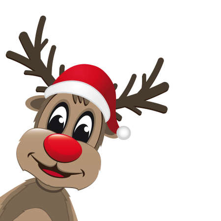 christmas reindeer with red nose Vector