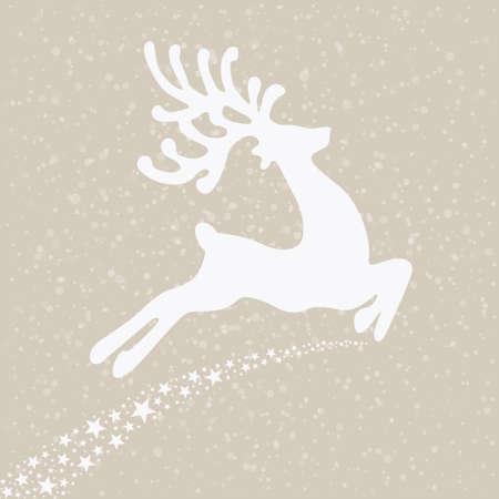 reindeer fly winter background Illustration