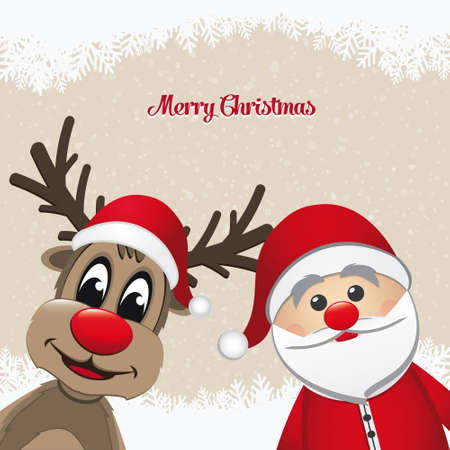 renos de navidad: Papá Noel y renos paisaje de invierno cubierto de nieve Vectores