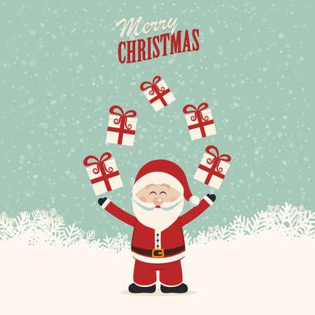 juggling: santa claus juggle gifts Illustration