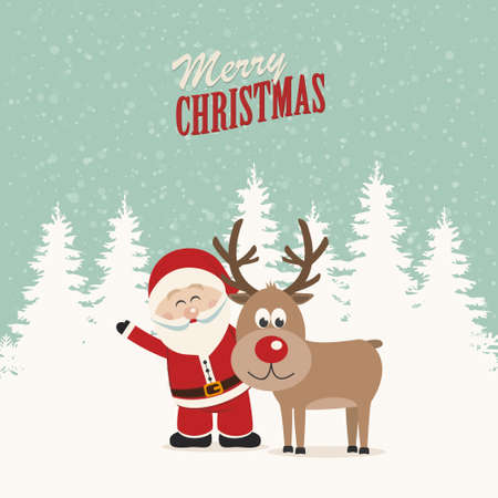 santa claus and reindeer snowy winter background Vector