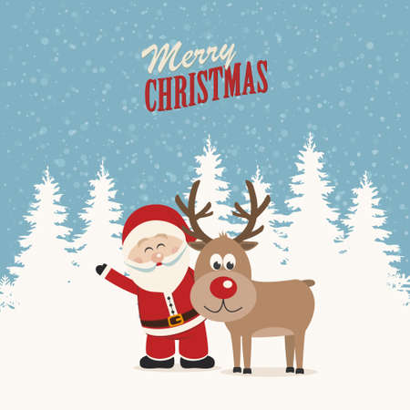 cartoon christmas tree: santa claus and reindeer snowy winter background