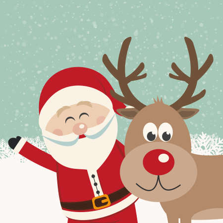 santa claus and reindeer snowy background Vector