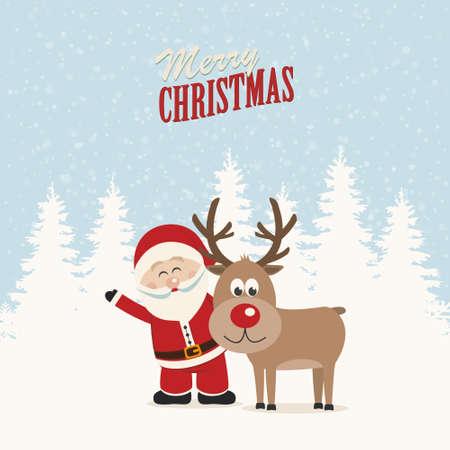 Père Noël et les rennes fond neigeux de l'hiver Banque d'images - 23652616