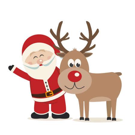 산타 클로스와 사슴 고립 된 배경