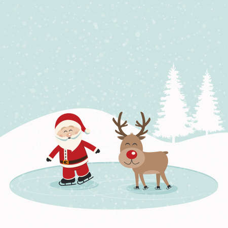 santa and reindeer skate on ice snowy background Vector