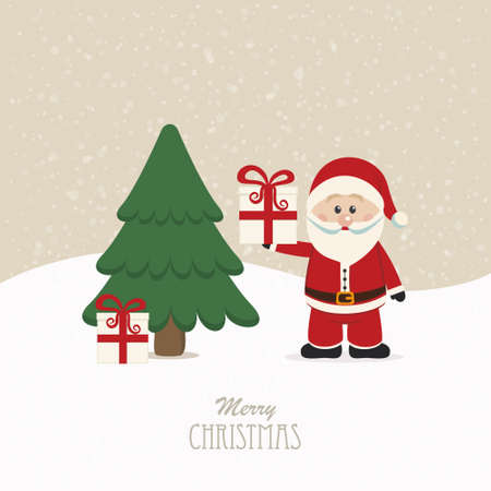 santa claus hold gift snowy background Illustration
