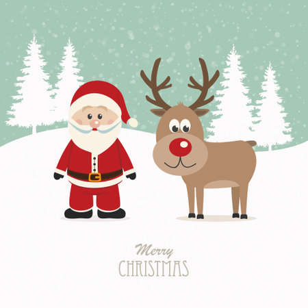 santa and reindeer snowy winter background Vector