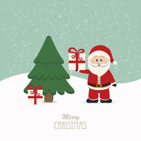 pinetree: santa claus hold gift snowy background Illustration