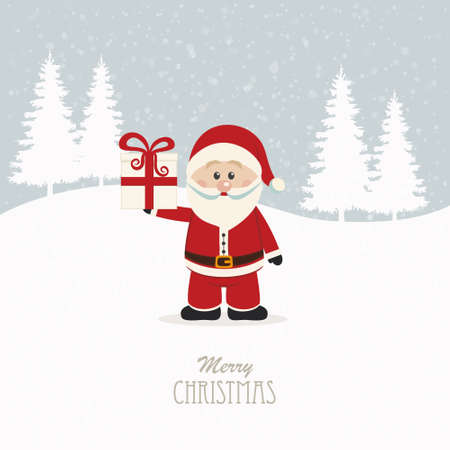 santa claus hold christmas gift snowy background Illustration