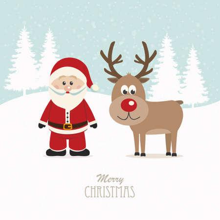 santa and reindeer snowy winter background Vector