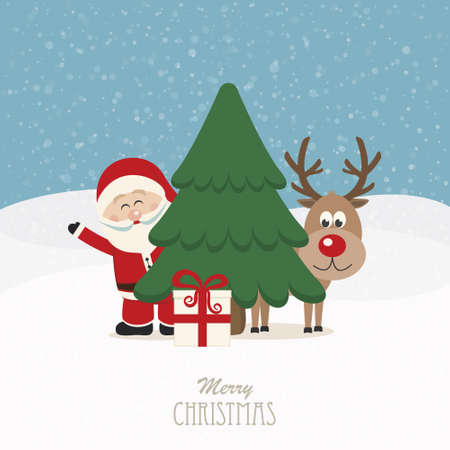 santa and reindeer behind christmas tree snowy background Vector