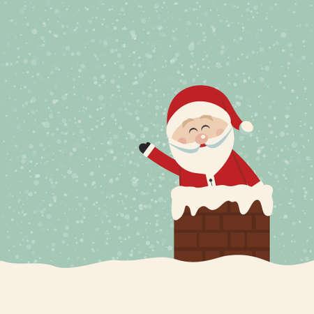 Weihnachtswelle in Schornstein Schnee-Hintergrund Vektorgrafik