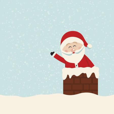chimney: santa wave in chimney snow background