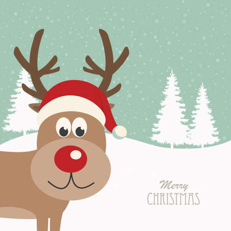 santa       hat: reindeer santa hat snowy background