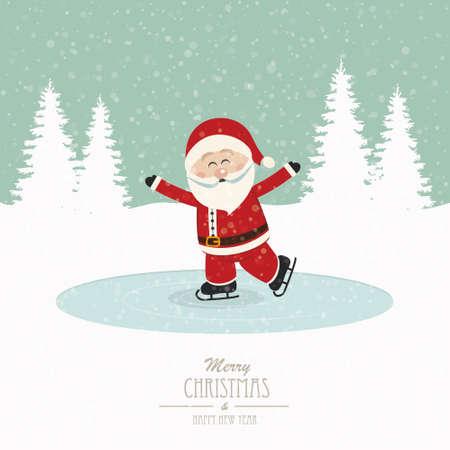 ice skates: santa skate on ice snowy winter background Illustration
