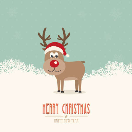 reindeer santa hat snow winter background Vector