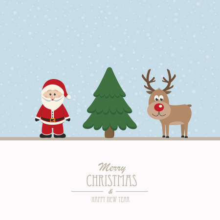santa and reindeer merry christmas Vector