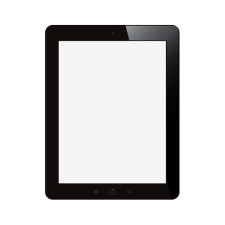 tablet computer with blank screen on isolated background