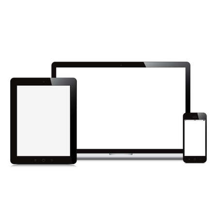laptop smartphone and tablet on white background Illustration